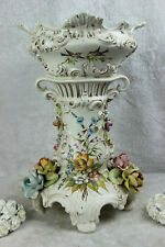Large capodimonte Italian Ceramic relief flowers Birds 1970