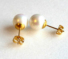 Women 18K yellow Gold Plated 10mm White Round Pearl Look Studs Earrings Light UK