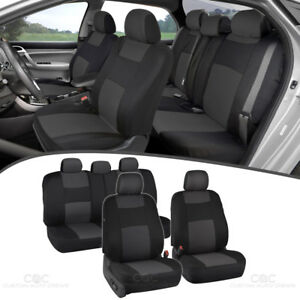 Car Seat Covers for Auto Sedan SUV Charcoal Gray Split Bench Option 5 Headrests