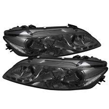 Mazda 03-06 6 DRL LED Smoke Dual Halo Projector Headlights Lamps Pair Set