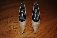 Womens CARLOS Gold/Beige Leather Heels Shoes Size 7.5 M MADE IN BRAZIL!!