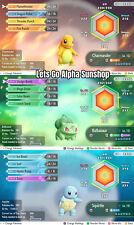 6IV Shiny Charmander Squirtle Bulbasaur Level 10 Pokemon Lets go Pikachu Eevee