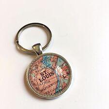 ST. LOUIS MISSOURI USA SAINT LOUIS LEMAY Map Key Ring Keychain Silver ATLAS