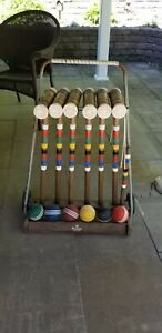 VINTAGE FORSTER 6 PLAYER ADULT WOOD CROQUET SET WITH WHEELED CART