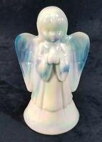 "Fenton Art Glass Iridized Celeste Blue Milk Glass Slag Glass 6"" Angel 1995"