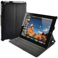 AMZER BLACK LEATHER TEXTURE SHELL PORTFOLIO CASE COVER FOR APPLE iPad 2 3 4