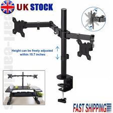"""13""""- 27"""" Double Dual Display Computer Screen Monitor Arm Mount Desk Stand LED CC"""