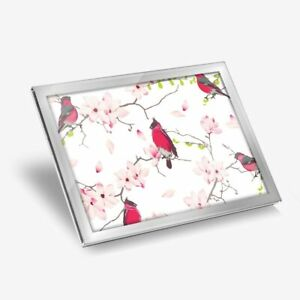 Glass Placemat 20x25 cm - Red Breasted Bird Cherry Blossom  #15745