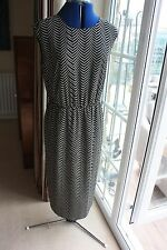 Next size 14 lined Black Cream striped silky sleeveless dress V back hardly worn