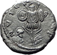 SEPTIMIUS SEVERUS 194AD Silver Authentic Ancient Roman Coin Trophy Emesa  i61483