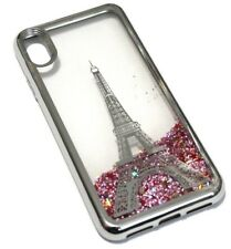 """For iPhone XS MAX 6.5""""- Silver Paris Eiffel Tower Pink Glitter Liquid Case Cover"""