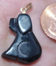 VINTAGE 14k GOLD GORGEOUS CHINESE CARVED ONYX DOG YEAR  DROP PENDENT