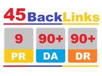 45 SEO Backlinks From PR9-10 High DA90+ Domains - Website SEO Google Rankings