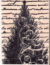 New Blume MAGENTA RUBBER STAMP Collage Christmas Tree script lg Free usa ship mt