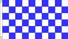 HUGE 8ft x 5ft Blue and White Check Flag Massive Giant Checkered Sports Team