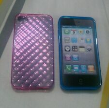 2 Iphone 4s silicone cover in blue and pink