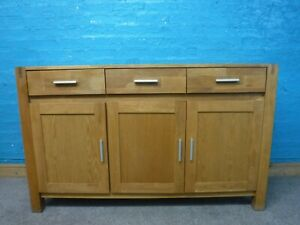 WIDE SOLID OAK 3DRAWER SIDEBOARD H87 W141cm- MORE IN STOCK - VISIT OUR WAREHOUSE