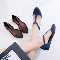 Women Closed Toe Summer Beach Flat Shoes T-Strap Jelly Sandals Pumps Shoes