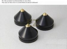 8x Ebony Wooden Speaker Copper Tip Spike Cone 33mm x 28mm & 8x Base Pad Shoe