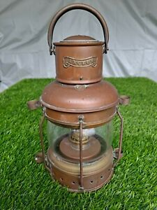 "Vintage Brass & Copper Anchor 10"" Oil Lamp Maritime Ship Lantern Boat Light"