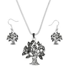 "Tree of Life Necklace & Earrings Set - Sparkling Crystal - Fish Hook - 17"" Chain"