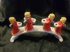 Goebel Germany 4 Singing Red Angels On Bridge Candle Holder Christmas 1971