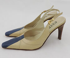 Extra Riemenpumps 38 slingbacks Pumps Schuhe beige blau Leder highheels top