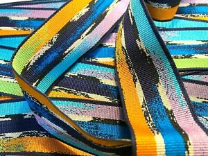 """Vintage Grosgrain 1950s Blue Lagoon Rayon Cotton Ribbon 1.5""""  1yd Made in France"""