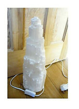 SELENITE CRYSTAL LAMP SNOW MOUNTAIN TOWER A-GRADE  40cm +  Lead & Bulb