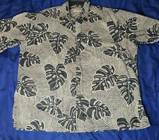 Cooke Street Honolulu 100%cotton Blue Leaf Short Sleeve Button Up Tropical Print