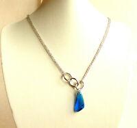 Swarovski Element Necklace Big Blue Purple Crystal 45 50cm White Gold Plated UK