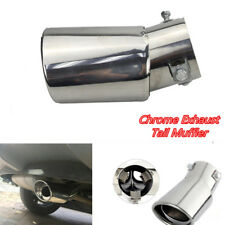 1x Car Universal Stainless Steel Exhaust Tail Throat Rear Muffler Tip Pipe Round