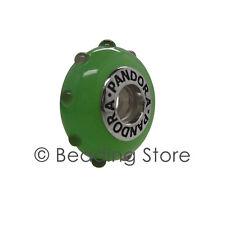 NEW Pandora Seeing Spots Light & Dark Green Murano Glass Charm Rare 790630 79630