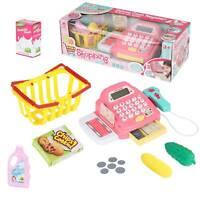 Gift Set Cash Register Toy Supermarket Kids Child Girl Shop Role Play Pink UK