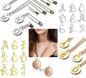 Initial Pendant Necklace Alphabet Chain Letter Gift Girls Womens Jewellery Charm