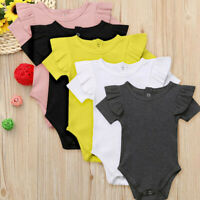 Toddler Infant Baby Girls Short Sleeve Ruffled Romper Jumpsuit Outfits Clothes