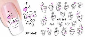 Music & Cat 3D Nail Art Sticker Decal Decoration Manicure Water Transfer