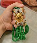 "Kenneth Jay Lane Huge 12 strand green glass double dragon bracelet 9"" K J L"