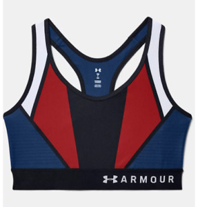 Under Armour Sports Bra Womens Small HeatGear Stretch USA Pride American Blue