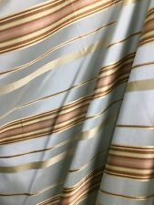 LIGHT  BLUE GOLD Striped Brocade Upholstery Drapery Fabric (54 in.) Sold BTY