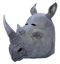 Rhino Overhead Rubber Mask Fancy Dress Costume Outfit Prop Rhinos Head