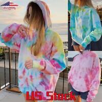 Women's Tie Dye Hoodie Tops Long Sleeve Loose Sweatshirt Jumper Hooded Pullover