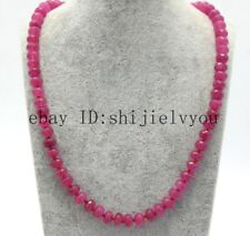 Beautiful natural rose ruby 5x8mm cut jewel Bead Necklace 20 '' AAA
