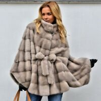 Women's 100% Real Mink Fur Coat With Stand Collar Full Pelt Bat-Sleeved Jacket