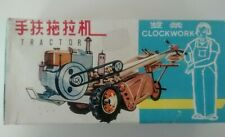 Vintage Windup Clockwork Tractor Tin and Litho Toy MIB w/Rubber Farmer Head