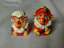 More details for rare stunning set of  vintage mr punch pair figure thimbles enamel coated metal