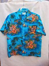 Waikiki 76 Vintage Hawaiian Shirt Blue Floral M