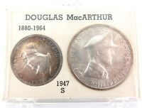 .SCARCE 1947S PHILIPPINES DOUGLAS MacARTHUR UNC SILVER 2 COIN SET.