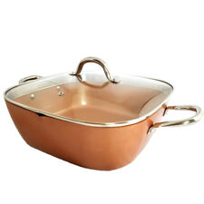 Copper Square XL Frying Pan 12 x 12 x 3.75 Inch Deep Induction Base Non Stick