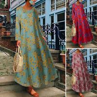 Jolie Femme Vintage Robe Dresse Imprimé floral Col Rond Manche Longue Loose Plus